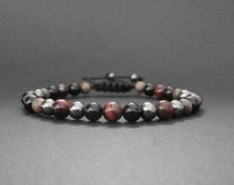 Mens stone bracelet natural eye agate, hematite, onyx, grey wood
