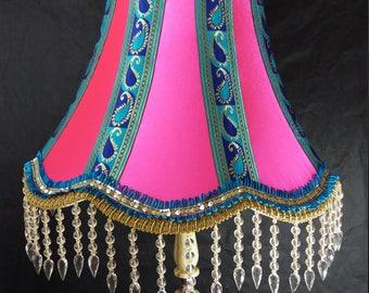 "22"" Indian Victorian style Bollywood Lampshade Standard Lampshade Handmade in Bradford UK"