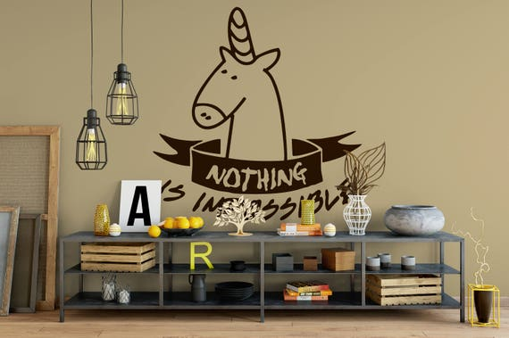 Nothing is Impossible Wall Decal, Fantasy decals, Unicorn, Nursery, Joyful,Reality is what you make out of it, Motivational,Inspiring