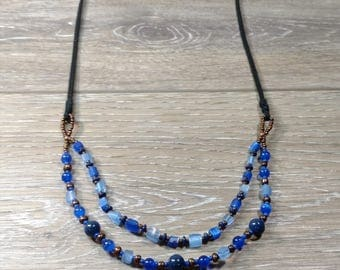 Black Suede and Blue Glass Bead Necklace