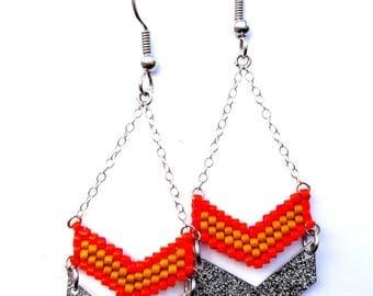 Chevron earrings beads Miyuki