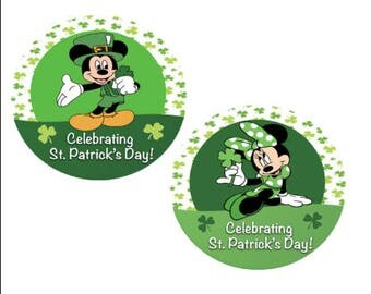 St. Patrick's Day Button - Minnie Mouse Button - Mickey Mouse Button - Lucky Clover Button - Theme Park Pin - Disney St. Patricks Day Pin