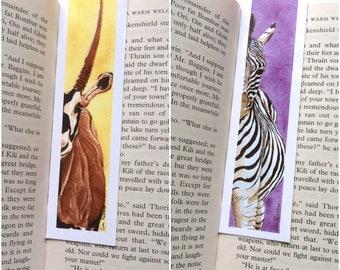 Double Bookmark BUNDLE - Zebra Bookmark - Oryx (Antelope) Bookmark - 39 x 148 mm - Animal Bookmark