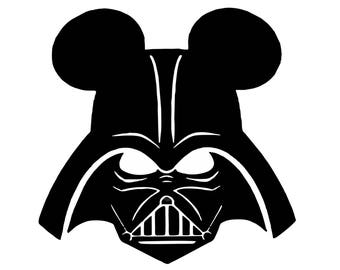 Darth Vader Mickey Ears - Mickey Mouse Ears. Die Cut Decal Logo , Silhouette Vinyl
