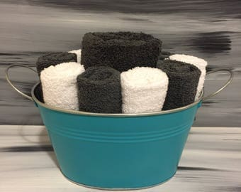 Teal Bathroom Towel/Wash Cloth Bin with metal handles - 1 dark gray hand towel, 5 white and 5 dark gray wash cloths.