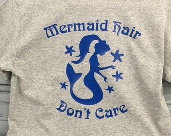 Mermaid Tshirt - Mermaid Hair Don't Care Tshirt- Mermaid Tee Shirt - Beach Tee Shirt - Blue Mermaid with Short Sleeve Gray Tshirt