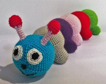 Amigurumi Caterpillar : Caterpillar and snake toys vintage crochet pattern download