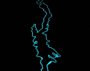 Glow in the dark coffee table with outline of Lake George.