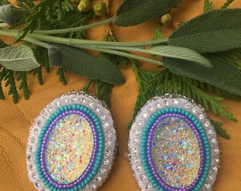 Purple and Teal Oval Earrings
