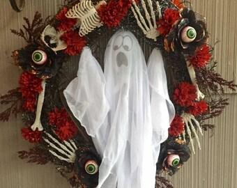 Ghost and Skeleton Bones Halloween Wreath