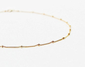 Tiny Gold Bead Necklace - Delicate Bead Layering Necklace - 14k Rose Gold, 14k Gold, Silver Dainty Bead Layering Necklace - Satellite Chain