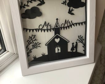 Mr and Mrs wedding chapel paper art cut out