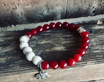 Red Beads &  Lava Essential Oil Diffuser Bracelet