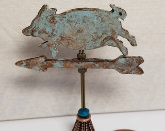 Miniature Weather Vane, Decorative Weather Vane, Pig Weather Vane, Dollhouse Miniatures, Accessory, Farmhouse, Aged Copper, Handmade