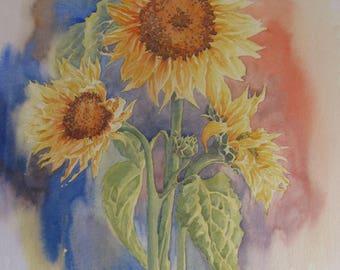 original watercolour 'Sunflowers' dorset art flowers still life