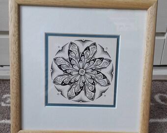 Spiral Flower - original pen and ink drawing