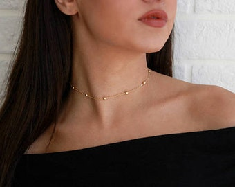 Beaded Choker, Dainty Gold Choker, Gift for Her, Gold Necklace, Dew Drop Necklace, Layering Choker, Boho Jewelry