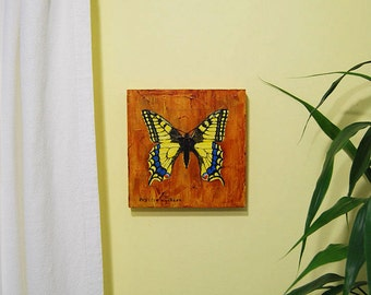 Butterfly acrylic painting on wood panel