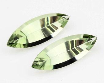 Marquise Lime Green Quartz Loose Gemstone Pair 14.43 Carats