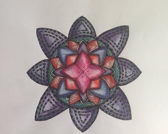 Acrylic painted mandala