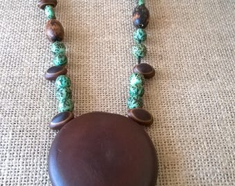 Ethnic necklace in tropical seeds