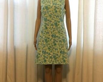 Vintage summer shift dress blue green floral