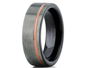Rose Gold Tungsten Wedding Band Grey Tungsten Ring Gunmetal  Ring Men & Women Brush Tungsten Ring Comfort Fit