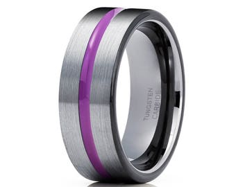 Purple Tungsten Wedding Band Black Tungsten Ring Gray Tungsten Band Men & Women Gray Brush Tungsten Carbide Ring
