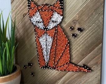 READY TO SHIP - Geometric Fox - Woodland Fox - Fox String Art