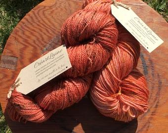 100% superwash Merino fingering orange hand dyed wool