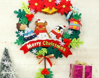 DIY Kit Christmas Rudolph Wreath Wall Hanging With Color String Lights / Christmas Gift / Christmas Decoration