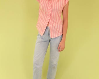 Gorgeous pink and salmon striped vintage union-made top SIZE XS-S