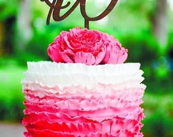 Wedding Cake Topper letter B Personalized Cake Topper for Wedding wood cake topper W Cake Topper Wood Monogram cake topper Rustic Wedding