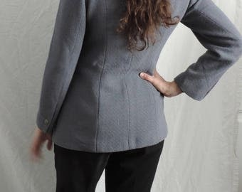 Vintage 1990's Joan and David Women's Light Gray Virgin Wool Blazer US size 12 made in Italy