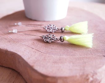 Bohemian, tassel and crystal earrings