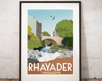 Rhayader  - Vintage travel, tourism print : A3 size.