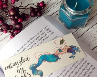 Watercolor printed bookmark - Entangled by books