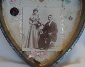 Vintage Mixed media Heart decor