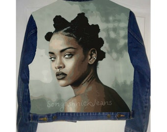 Hand painted denim jacket, Rihanna jacket, rihanna painted, painted denim jacket, denim jacket, hand painted jacket, hand painted denim