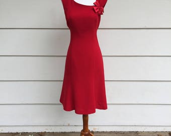 Vintage 90s Red Bow Dress by SL Fashions