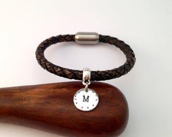 Initial Leather Bracelet, Mens Bracelet, Gift For her, Gift For him, Bracelet for Men, Women Bracelet, Gift For Husband,Valentine's Day Gift