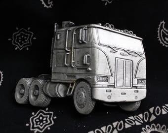 Vintage Belt Buckle - Transport Truck (1970s)