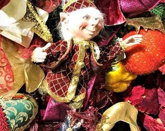 "Floridus 11"" ""TORRE"" Elf (Burgundy & Gold) FLO-XN709100"