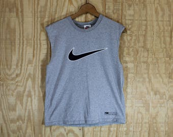 Vintage 1990's Nike Label Soccer Swoosh Gray Cotton Sleeveless Tank Top Muscle T-Shirt  T Shirt M / L