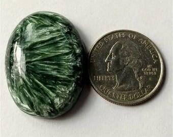 33.25 x 24.68mm,Ovel Shape Seraphinite Russian cabochon /Attractive  Seraphinite/wire wrap stone/Super Shiny/Pendant Cabochon/Semi Precious