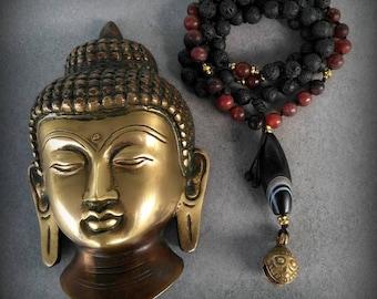 Unisex Meditation Mala, Japamala, Handmade, Lava beads, Agate, Boho chic, Om Shanti