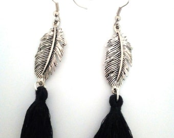Feather and tassel earrings