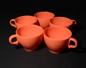Vintage, MELMAC, Melamine, Orange, Coffee cups, Tea cups, Set of 5, Dinnerware, Hard Plastic, Made in Canada, rare