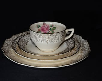 Mid-century (c.1950s), DOMINION CHINA, BRIARD rose, dinnerware set, vintage, U.S.A., Pink roses, 22k gold floral chintz, teacup and saucer