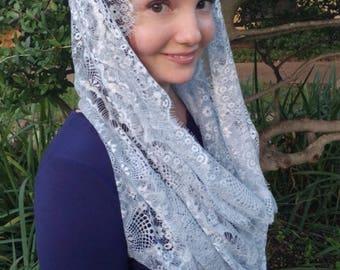 Silver blue Catholic lace infinity mantilla veil